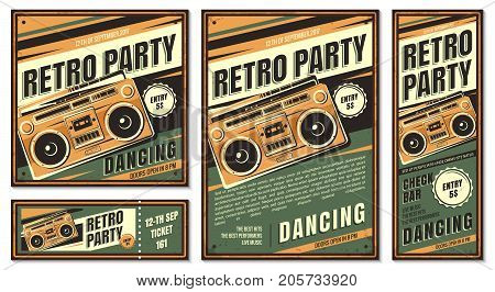 The poster in vintage style on a retro party banner, invitation, flyer, advertising. Vector illustration of retro disco and dance. Old microphone. Other variations you can find in my portfolio.