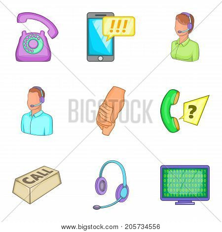 Business support icons set. Cartoon set of 9 business support vector icons for web isolated on white background