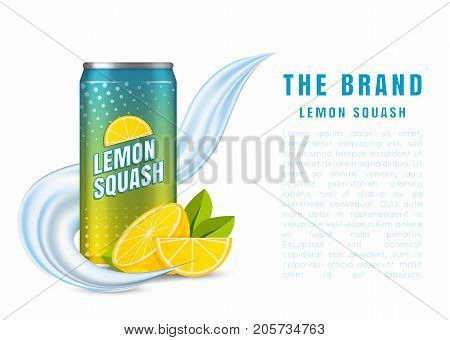 Realistic aluminum cans. Vector illustration. The image of the empty layout for your design. Package design. Mock up illustration. Bank of carbonated water. Tasty drink, can lemonade or beer.