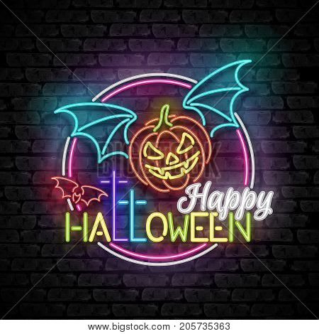 Happy Halloween Greeting Card Template. Shiny Neon Lamps Glow Style on Black Brick Wall. Singboard with Vampire Pumpkin Bat and Cross Symbols. Beautiful Holiday Flyer. Vector 3d Illustration.