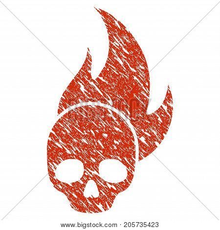 Grunge Skull Fire rubber seal stamp watermark. Icon skull fire symbol with grunge design and unclean texture. Unclean vector red sign.