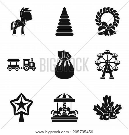 Children carousel icons set. Simple set of 9 children carousel vector icons for web isolated on white background