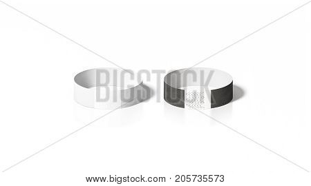 Blank black and white paper wristband mockup front view 3d rendering. Empty event wrist band design mock up. Cheap hand bracelets template isolated. Clear concert bangle wristlet set with sticker.