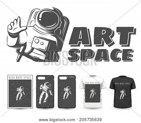 Vector illustration of space explorers. Traveler universe. universe researcher.Man in suit on the background of the infinite universe.The illustration on the theme of science, space exploration.