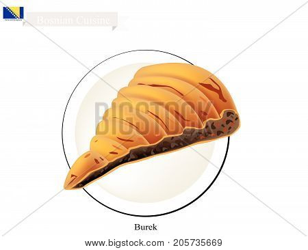 Bosnian Cuisine, Burek or Traditional Twisted Meat Pie Made of Thin Flaky Dough with Cheese. One of Most Popular Dish in Bosnia and Herzegovina.