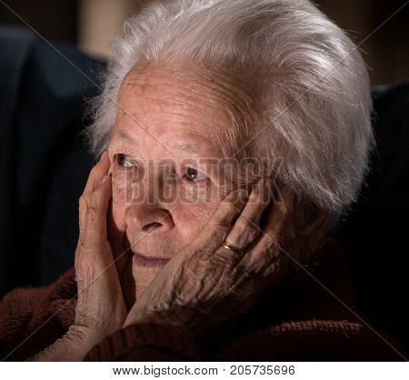 Sick Depressed Old Woman
