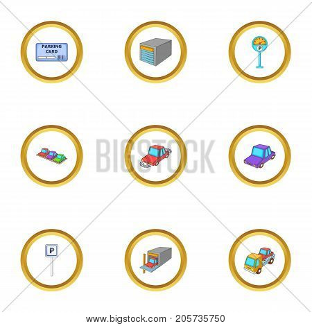 Parking area icons set. Cartoon style set of 9 parking area vector icons for web design
