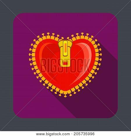 Heart zipper concept background. Cartoon illustration of heart zipper vector concept background for web design