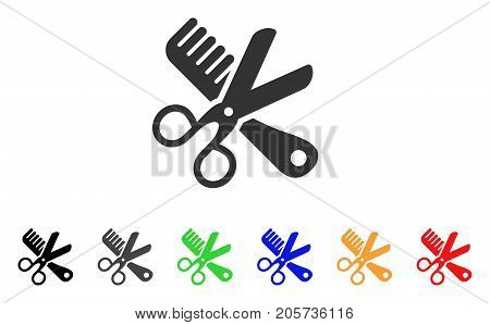 Comb And Scissors Tools icon. Vector illustration style is a flat iconic comb and scissors tools symbol with black, grey, green, blue, red, orange color additional versions.