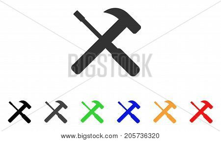 Hammer And Screwdriver Tools icon. Vector illustration style is a flat iconic hammer and screwdriver tools symbol with black, gray, green, blue, red, orange color variants.