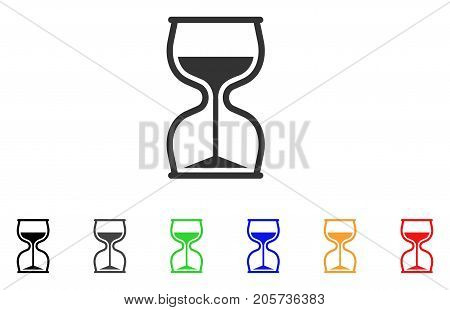 Hourglass icon. Vector illustration style is a flat iconic hourglass symbol with black, grey, green, blue, red, orange color additional versions. Designed for web and software interfaces.