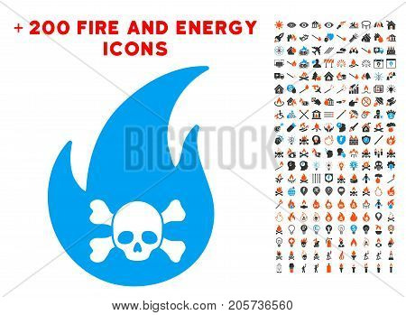 Hellfire icon with bonus flame images. Vector illustration style is flat iconic symbols for web design, application ui.
