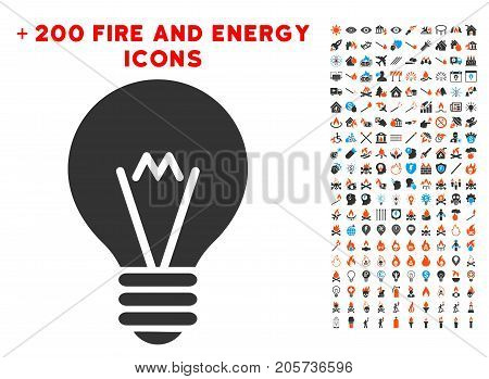 Hint Bulb pictograph with bonus flame pictograms. Vector illustration style is flat iconic symbols for web design, app user interface.