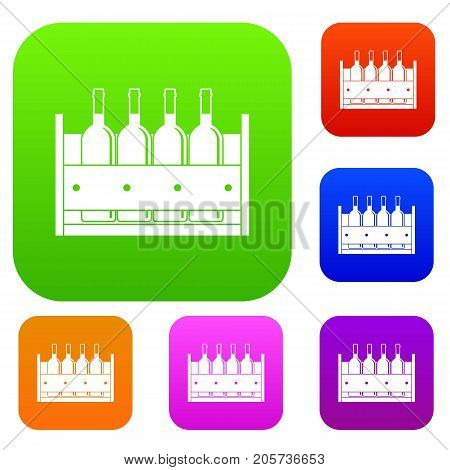 Four bottles of wine in a wooden box set icon color in flat style isolated on white. Collection sings vector illustration
