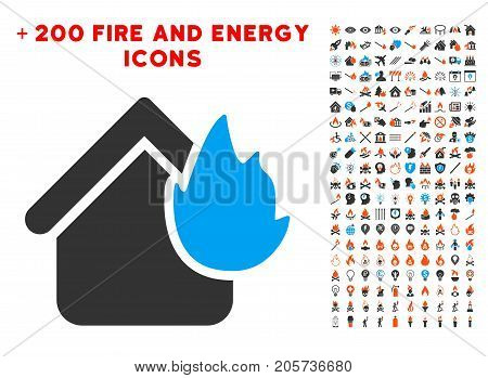Home Fire Disaster icon with bonus energy clip art. Vector illustration style is flat iconic elements for web design, app user interface.