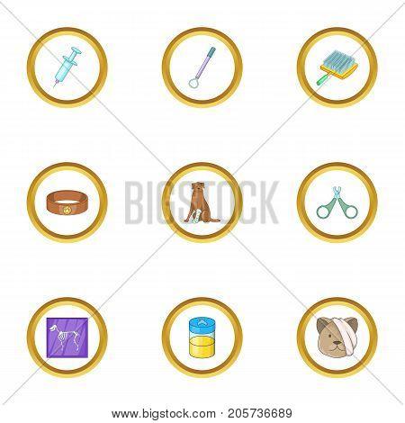 Veterinary clinic icons set. Cartoon style set of 9 veterinary clinic vector icons for web design
