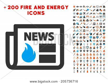 Hot News pictograph with bonus flame graphic icons. Vector illustration style is flat iconic symbols for web design, application ui.