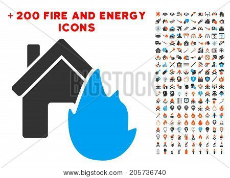 House Fire Disaster pictograph with bonus energy pictograph collection. Vector illustration style is flat iconic symbols for web design, application ui.