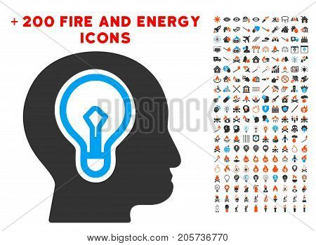 Idea Bulb icon with bonus energy clip art. Vector illustration style is flat iconic elements for web design, application ui.