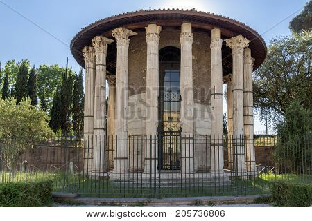 ROME, ITALY - JUNE 22, 2017: Amazing view of Temple of Hercules Victor  in city of Rome, Italy