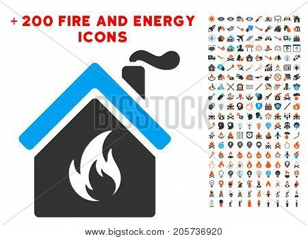 Kitchen Fire icon with bonus flame graphic icons. Vector illustration style is flat iconic symbols for web design, app ui.