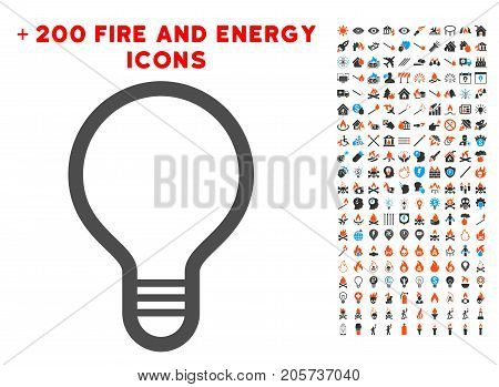 Lamp Bulb pictograph with bonus fire images. Vector illustration style is flat iconic elements for web design, application ui.