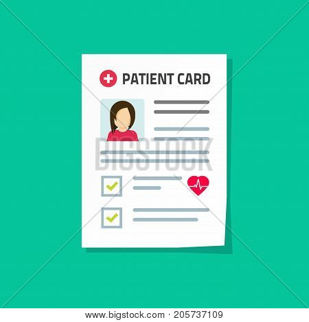 Patient card vector illustration isolated on color background, flat cartoon medical record paper document with patient health information, concept of good results of health check up, healthy diagnosis