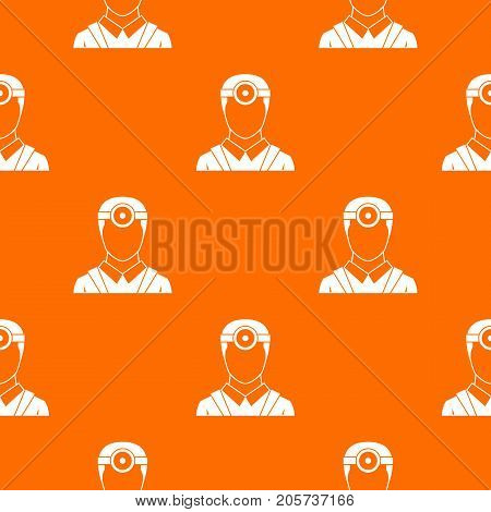 Ophthalmologist with head mirror pattern repeat seamless in orange color for any design. Vector geometric illustration