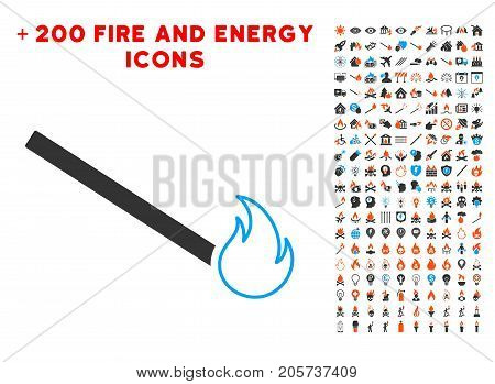Match Flame icon with bonus fire design elements. Vector illustration style is flat iconic symbols for web design, application user interface.