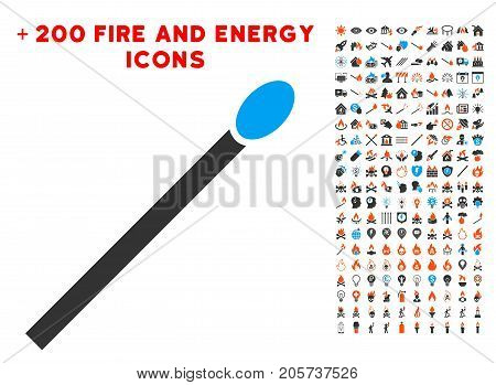 Match pictograph with bonus fire design elements. Vector illustration style is flat iconic elements for web design, app user interface.