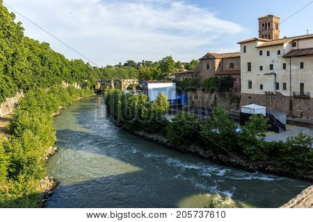 ROME, ITALY - JUNE 22, 2017: Amazing view of Castello Caetani and Tiber River and in city of Rome, Italy