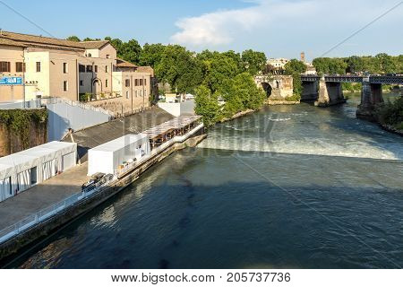 ROME, ITALY - JUNE 22, 2017: Amazing view of Ponte Palatino,  Tiber River and Pons Aemilius in city of Rome, Italy