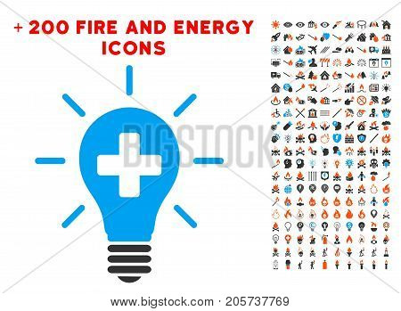 Medical Electric Lamp icon with bonus power clip art. Vector illustration style is flat iconic symbols for web design, application user interface.