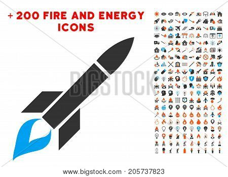 Missile Flight icon with bonus energy symbols. Vector illustration style is flat iconic symbols for web design, app user interface.