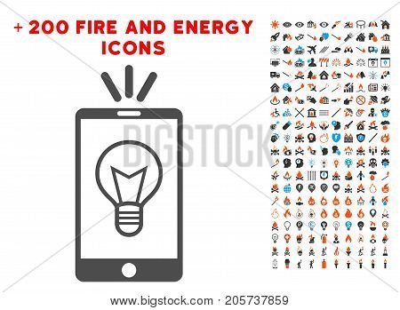 Mobile Lamp Light pictograph with bonus fire design elements. Vector illustration style is flat iconic elements for web design, application ui.
