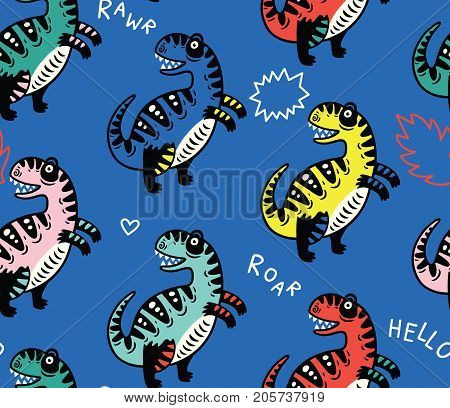 T-rex dino seamless pattern with simple phrases. For cards, party, banners, and children room decoration.