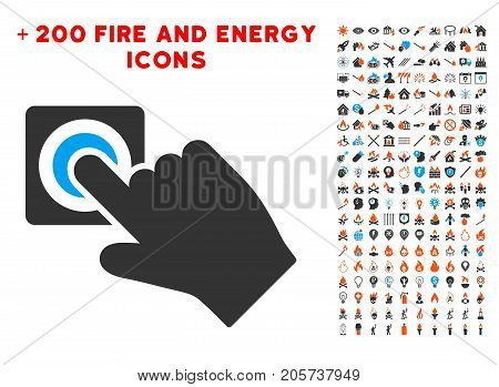 Push Alarm Button icon with bonus energy icon set. Vector illustration style is flat iconic elements for web design, app user interface.