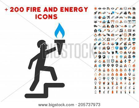 Soldier Climbing With Torch pictograph with bonus energy symbols. Vector illustration style is flat iconic elements for web design, application user interface.