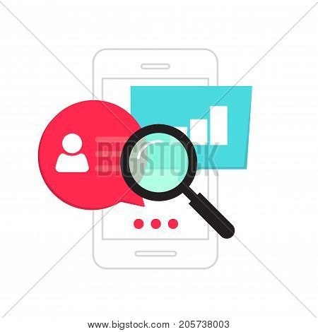 Mobile phone data analytics concept vector illustration isolated on white background, smartphone social statistics analysis, audit, research information, data measure analyze