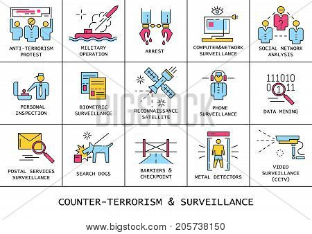 Vector set of counter-terrorism and surveillance flat line color icons.