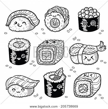 Collection of kawaii rolls and sushi in manga style. Tasty japanese food set in ink. Fun set for coloring book