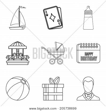Baby carriage icons set. Outline set of 9 baby carriage vector icons for web isolated on white background