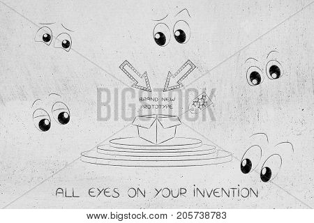 Prototype Release On Podium Surrounded By Cartoon Eyes Looking At It