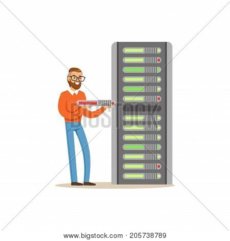 Network engineer administrator working with hardware equipment of data center, server maintenance support vector illustration isolated on a white background
