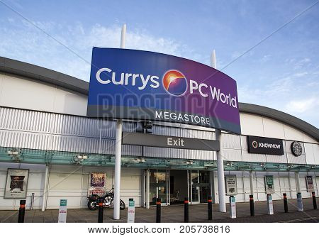 Bristol, UK: December 14, 2016: Currys and PC World Megastore in Cribbs Causeway Shopping Precinct, Bristol. Currys is a British electrical retailer operating in the UK and is owned by Dixons Retail.