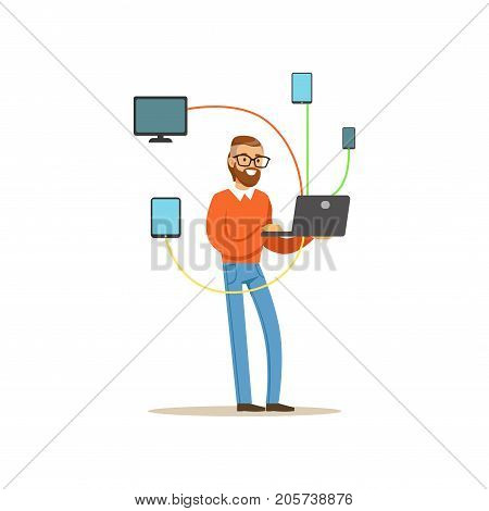 Engineer system IT administrator servicing the computer system, networking service vector illustration isolated on a white background