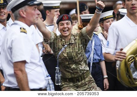 Szczecin Poland 6 august 2017: The Tall Ships Races 2017 crew parade in Szczecin ROYALIST UK.