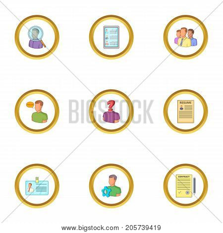 Employment agency icons set. Cartoon style set of 9 employment agency vector icons for web design