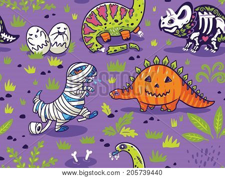 Happy Halloween dinosaurs seamless pattern. Set of characters, zombie, pumpkin, skeleton, mummy and ghosts. Cartoon vector background