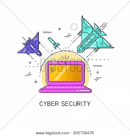Vector flat line illustration with shifted color fill on the theme of cyber security, attack, hacking. The laptop is protected from attacks of fighter planes and bombs.